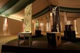 CONVERSAZIONE – Installazione  Primavera e Pierrot Lunaire - sedie in legno multilaminare - lavorato a scalpello e intarsio, h. cm 155-170 - 2008