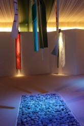 CONVERSAZIONE – Installazione - Metamorfosi 2010 Stampe originali xilografiche e inkjet UV impresse dall'artista - interventi in foglia oro e rame  su piallacci di varie essenze -  cm 240x35 - Esemplari unici numerati - 2010